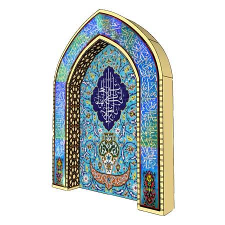 محراب کاشی هفت رنگ