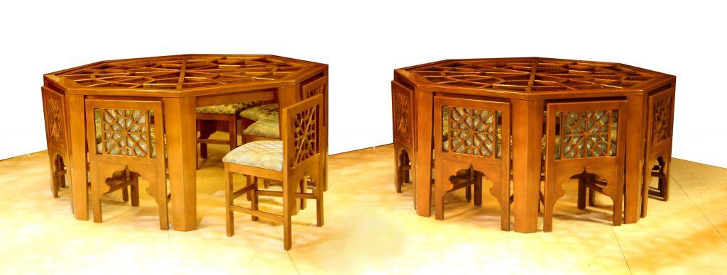 میز چوبی هشت ضلعی گره چینی