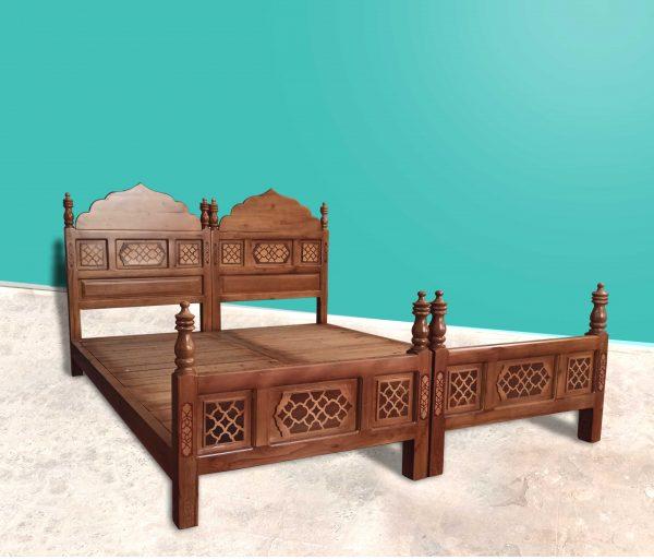 تخت سنتی تمام چوب معرق