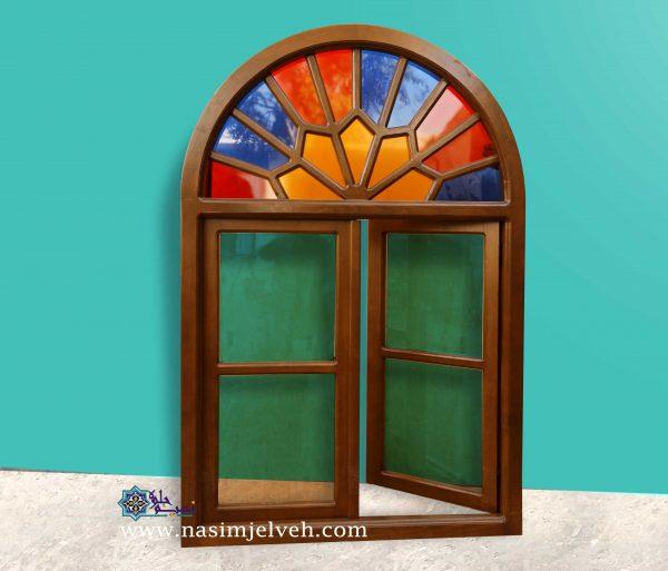 پنجره گره چینی با چوب راش و شیشه رنگی